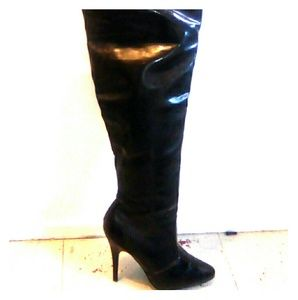 Black Patent Leather Pleaser Boots